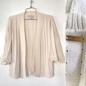St. John Sport cream cardigan knit sweater